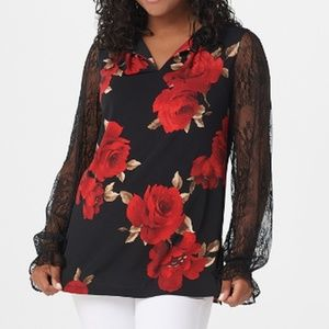 Printed Liquid Knit Top With Lace Sleeves